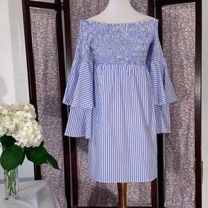 Venus blue and white off-the-shoulder dress.